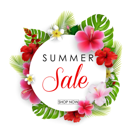 Vector illustration of Summer sale round background with flowers