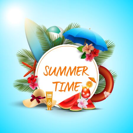Summer time banner design with white round and beach elements