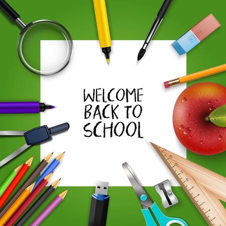 Welcome Back to school template with schools supplies