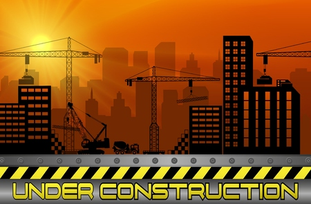 Vector illustration of Construction sites with buildings and cranes