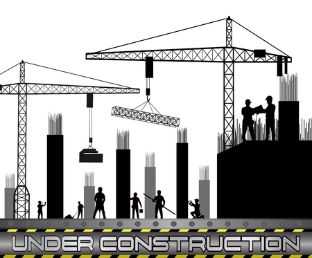drill: A vector illustration of Construction workers with cranes