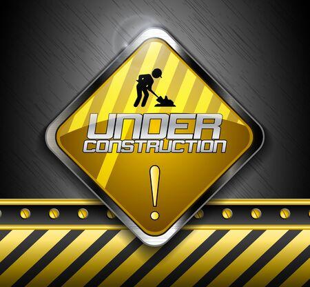 vector sign under construction: A vector illustration of Under construction road sign.