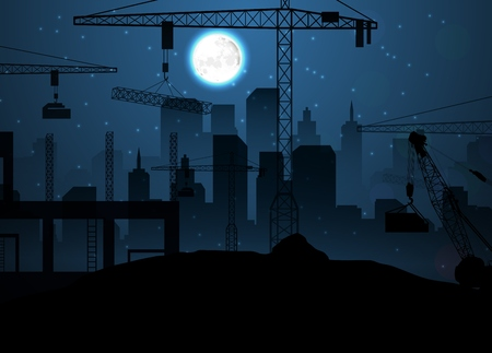 heavy construction: Vector illustration of Construction site with cranes on night sky and moon
