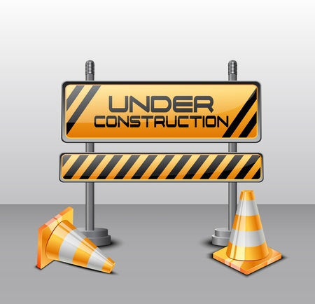 Vector illustration of Under construction barrier with road cones