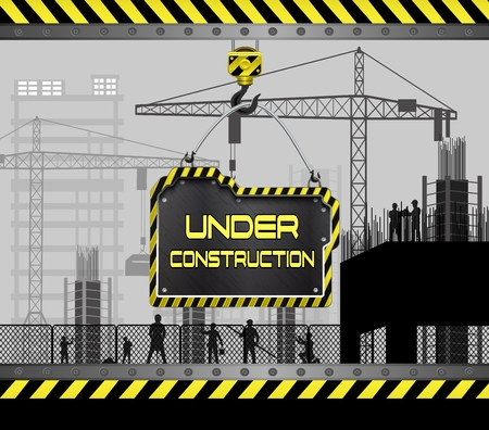 machinery: Vector illustration of Building under construction site with sign board Illustration