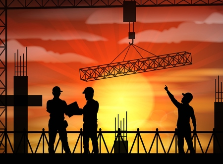 Vector illustration of Construction worker silhouette at sunset Illustration