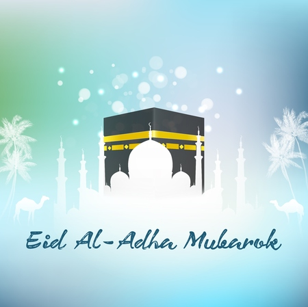Vector illustration of Hajj Kaaba and Mosque Eid adha islamic Illustration