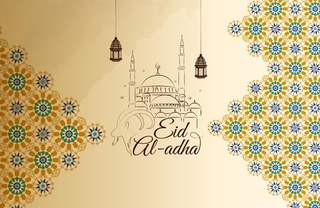 イード アル · 犠牲祭のグリーティング カードのベクトル イラスト  イラスト・ベクター素材