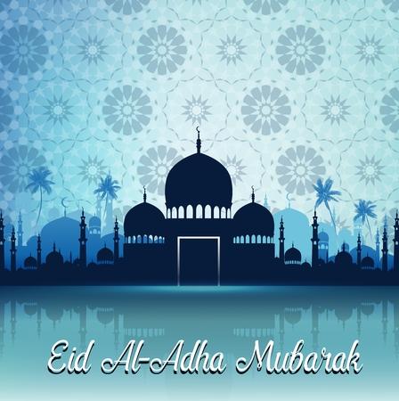 矢量插图的古尔邦节庆祝与清真寺