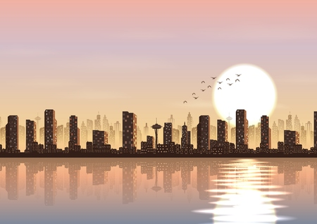 Vector illustration of City at sunset background beside a river
