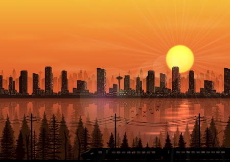 Vector illustration of City at sunset background with train beside a river