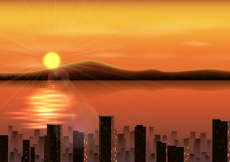 lake district: Vector illustration of Sunset background with mountains and city in the river