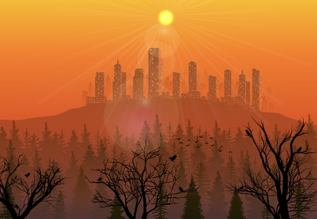 Vector illustration of City on the hills at sunset background