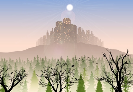 Vector illustration of City on the hills in the morning