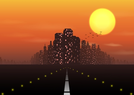 Vector illustration of Road to the city at sunset background Illustration