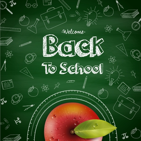 Vector illustration of Welcome back to school background with red apple Illustration