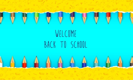 Vector illustration of Welcome back to school with colored pencils Illustration
