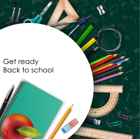 Vector illustration of Welcome back to school with school supplies Illustration