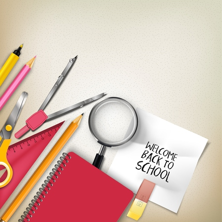 Vector illustration of Welcome back to school with school supplies Иллюстрация
