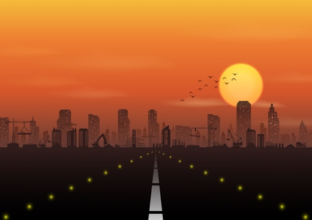 Vector illustration of Road to the city with construction site at sunset background