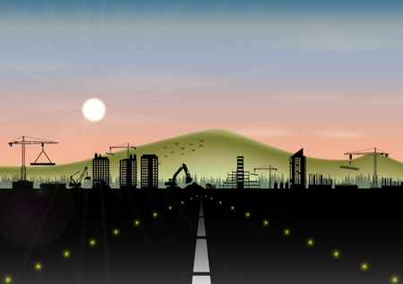 Vector illustration of Highway with construction site and mountain landscape