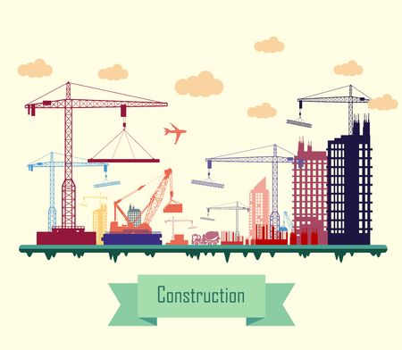 Vector illustration of Colorful Construction Site Illustration