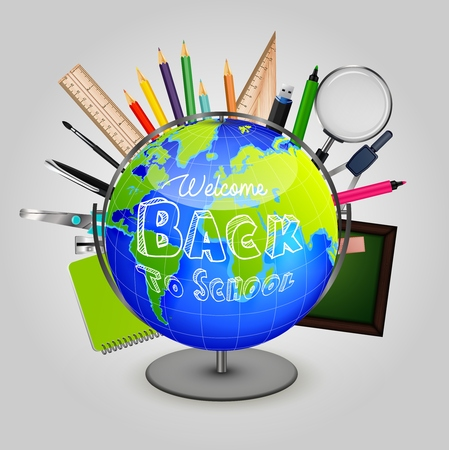 Welcome back to school with stationery and globe