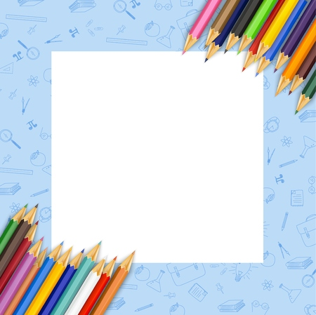 White paper with colored pencils Stock Photo