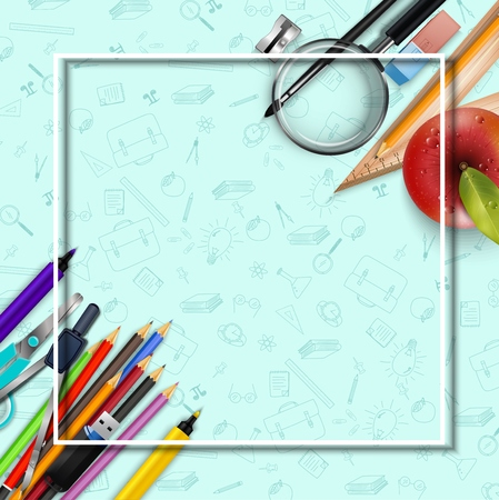 Stationery and an apple background