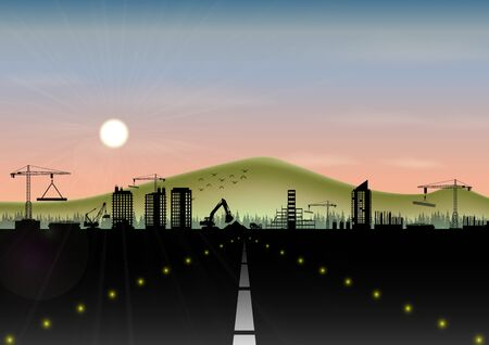 Highway with construction site and mountain landscape 版權商用圖片