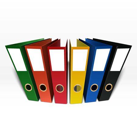 Colorful box file folder isolated on white background Stock Photo