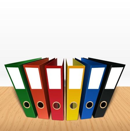 Colorful box file folder on desk background