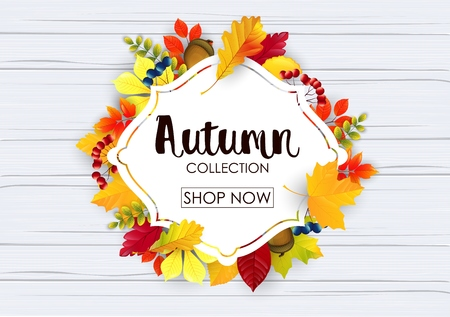 Vector illustration of Autumn collection sale banner Illustration