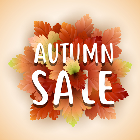 Vector illustration of Autumn sale flyer template with lettering Illustration