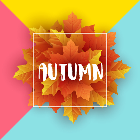 Autumn leaves flyer template with lettering