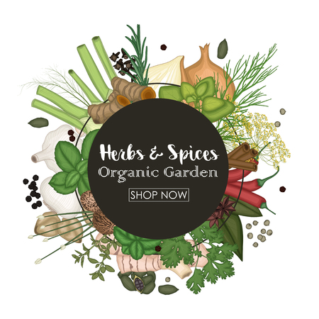 Spice and herb round frame background Stock Photo
