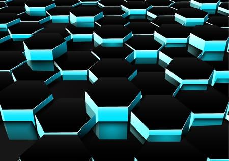 A vector illustration of perspective dark hexagonal background.