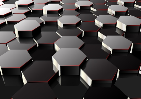 A vector illustration of perspective hexagonal background.