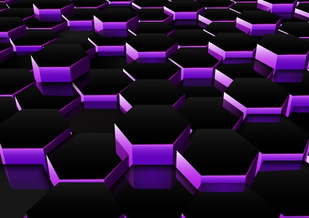 Vector illustration of Dark purple hexagonal background