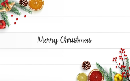 Vector illustration of Christmas wooden background with fir branches and golden bells