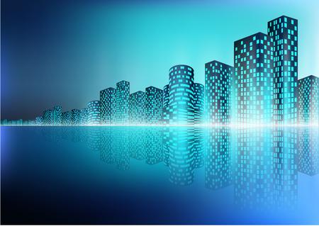 Vector illustration of City landscape with reflection Illustration