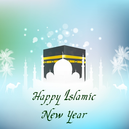 Vector illustration of Islamic New Year with hajj kaaba and mosque. Illustration