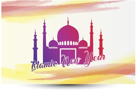 Vector illustration of Islamic new year greeting card with mosque