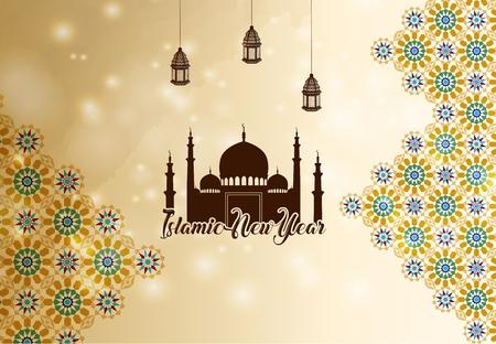 矢量插图伊斯兰新年问候背景剪影清真寺
