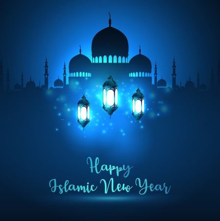 Vector illustration of Happy Islamic New Year with silhouette mosque and blue shiny lantern.