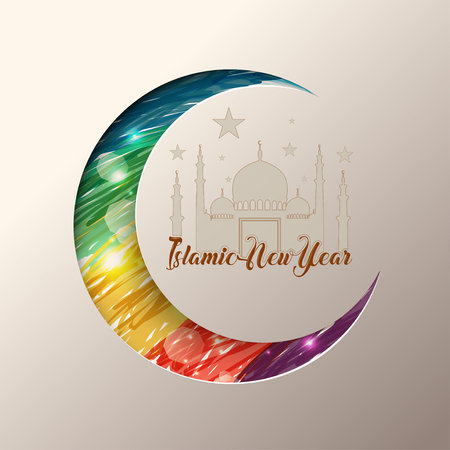 Illustration of Islamic new year with mosque on colorful moon