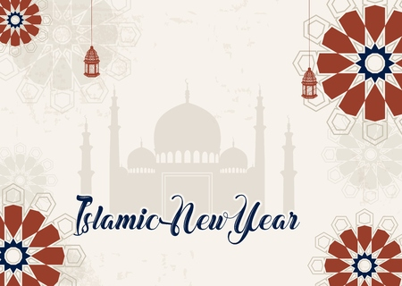 islamic new year greeting background silhouette mosque stock photo 88993042