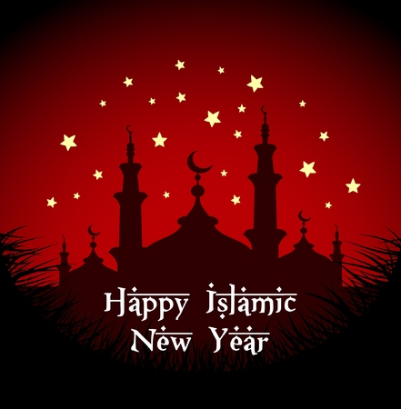 Vector illustration of Happy islamic new year with silhouette mosque at night