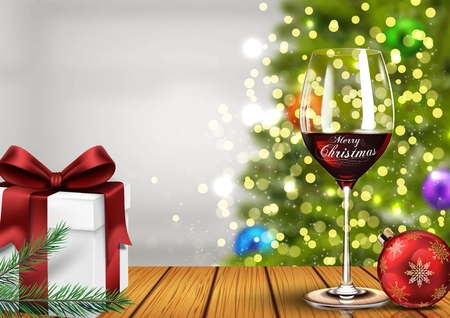 Vector illustration of Christmas wine glass with gift boxes and christmas ball on light bokeh background Çizim