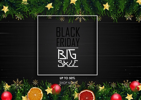 black friday sale poster with christmas decoration on wooden background stock photo 89122078 - Black Friday Christmas Decoration Deals
